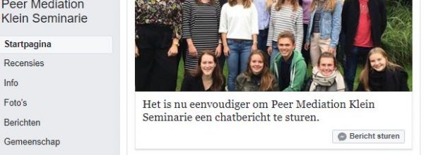 Peer mediators op Facebook!